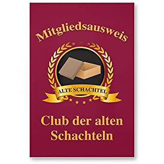 DankeDir! Clubausweis alte Schachteln, Kunststoff Schild - Geschenk Runder Geburtstag, Geschenkidee Geburtstagsgeschenk Sie, Geburtstagsdeko/Partydeko / Party Zubehör/Geburtstagskarte