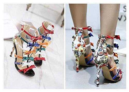 Beauqueen Stili di stile romano di nozze Show Stiletto Women's High Heel Hollow Hollow Zipper Sandali Colorful Bow Cravatte Decorazione Peep Toe Abbigliamento Partito All-Match Party Casual Sandali an spell color
