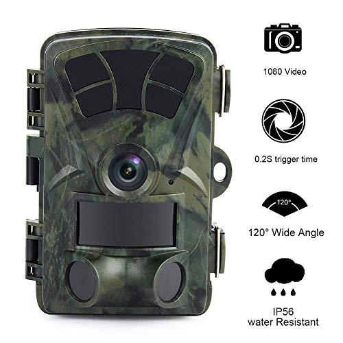 MC.PIG Wildkamera Jagdkamera 16MP 1080P Full HD Wildlife-Wildkamera mit 2,4-Zoll-LCD-0,2-Sekunden-Triggergeschwindigkeit bis zu 65 m (IP66) wasserdichtes 3PIR-Motion-aktiviertes