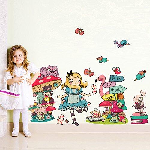 R00360 Adesivo murale per bambini Wall Art - Il mondo di Alice - Misure 40x120 cm - Decorazione parete, adesivi per muro, carta da parati