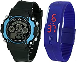 Pappi Boss Sports Watch Collections - Digital Black-Blue Dial Sports Watch & Unisex Silicone Dark Blue Led Digital Watch for Boys, Girls, Men, Women & Kids