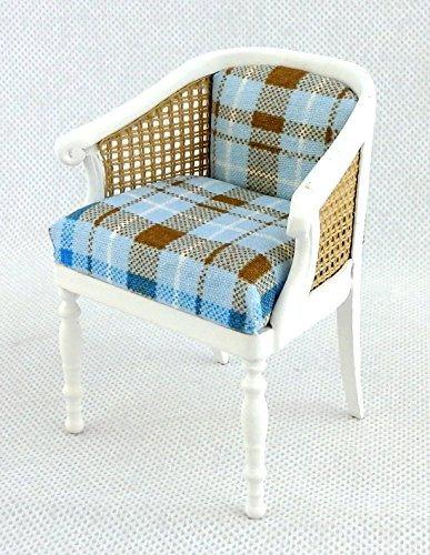 Melody Jane Puppenhaus Lehnstuhl weiß Rattan Überprüfen Sie Sessel Miniatur 1:12 JBM Möbel