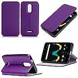 Wiko Upulse LITE 4G/LTE Dual Sim Tasche Leder Schutzhülle lila Cover mit Stand - Zubehör Etui Wiko U pulse Lite 2017 / 2018 5.2 zoll Flip Case (PU Leder, Handytasche Hülle purple) - XEPTIO accessories