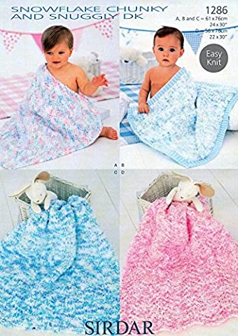 Sirdar Snuggly Snowflake Chunky Baby Shawl Blanket Knitting Pattern