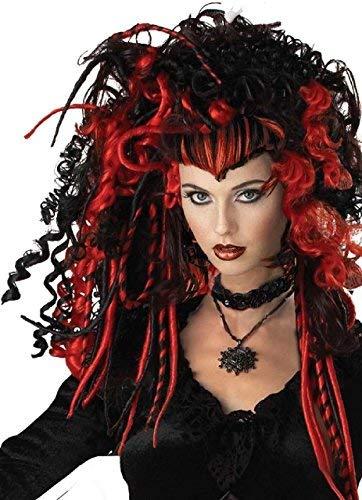 Fancy Me Erwachsene Damen Schwarz Rot Vampir Rastalocken Dreadlock Lockig Wild Halloween Horror Unheimlich Kostüm Kleid Outfit Perücke