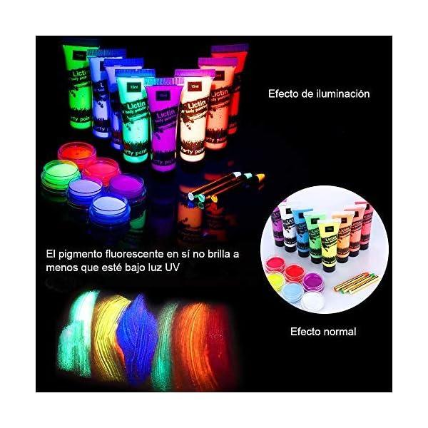 Lictin 43Pcs Pintura Corporal Pintura arte corporal UV Luz Negra Fosforescente maquillaje Arte maquillaje Fluorescente…