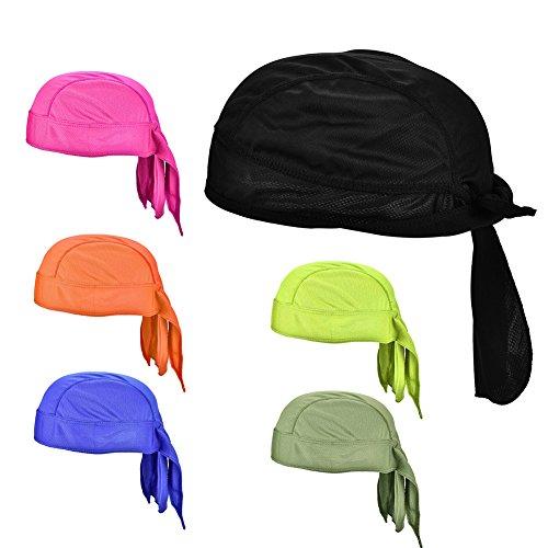 Tbest Bandana da Pirata per Bici, Bandana Regolabile in Bicicletta cap Quick Dry Sweatband Head Warp Headband Riding Foulard Sunhat 6 Colori tra Cui Scegliere(Blu Reale)