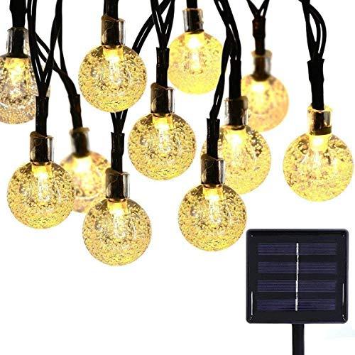 rkette für den Außenbereich, wasserdicht, 6 m, 30 LED-Kristallkugeln, solarbetrieben, für den Außenbereich, Garten, Hof, Haus, Urlaub und als Party-Dekoration und Weihnachten Modern Warm White-1 ()