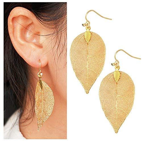 Gleamart filigranen Blatt-Tropfen-Ohrringe Leichte Metallgeschirmte Blätter Ohrstecker lange baumeln Ohrringe Gold -
