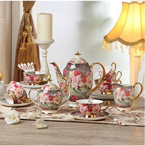 Europe Vintage Rose Bone China Coffee Set British Porcelain Tea Set Ceramic Pot Creamer Sugar Bowl Teatime Teapot Coffee Cup Mug A -