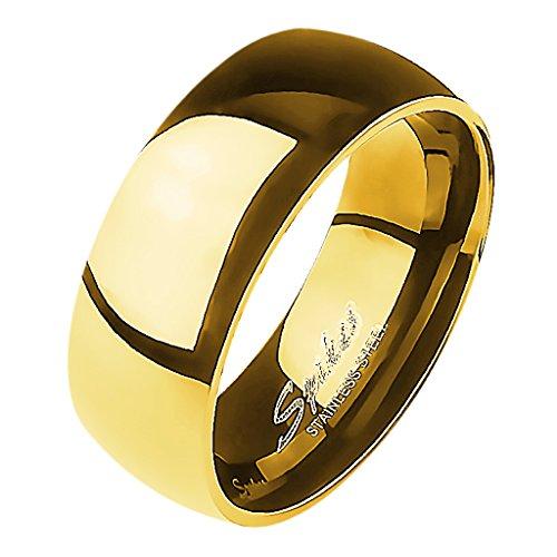 Mianova Band-Ring Edelstahl Herrenring Damenring Partnerring Trauring Verlobungsring Damen Herren Gold Größe 65 (20.7) Breit 8mm