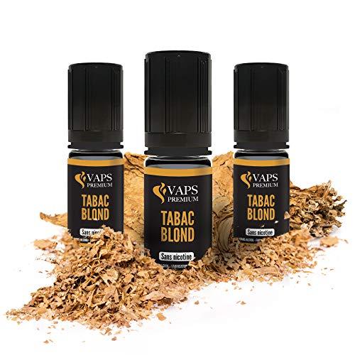 Vaps'Premium - E-liquide Tabac Blond - 3 x flacons de 10 ml - 00 mg - Fabrication française - Recharge Liquide Cigarette électronique - Sans nicotine ni tabac