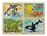 #6: Melissa & Doug 4-in-1 Sea Life Jigsaw Puzzle, Multi Color