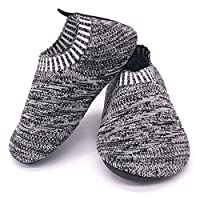 Kids Knit Slippers Indoor Anti-Slip Shoes Outdoor, Black, 6.5/7 UK Child, Manufacturing Size - 160