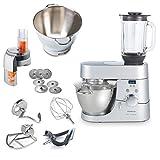 Kenwood Küchenmaschine TOP-Paket Chef Titanium Timer KMC070 mit zusätzlicher Schüssel 36385B + Schnitzelwerk AT340