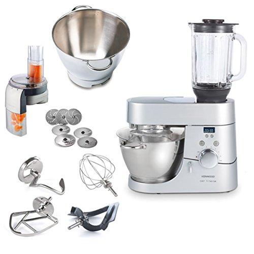 Kenwood Robot de cocina Top Paquete de chef Titanium temporizador kmc070con jarra adicional 36385b + Picadora de at340