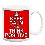 Keep Calm e pensare positivo rosso tazza regalo Manager Ufficio scherzo