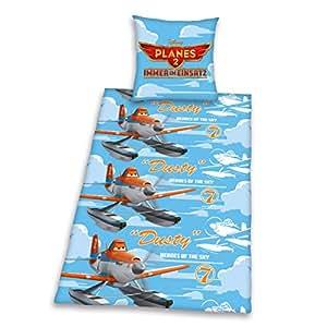 Herding 464378050412 Bettwäsche Disney's Planes, Kopfkissenbezug: 80 x 80 cm und Bettbezug: 135 x 200 cm, 100% Baumwolle, Flanell/Biber