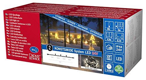 Konstsmide 4650-107 LED Hightech System Erweiterung/Lichterkette / für Außen (IP44) / 100 warm weiße Dioden/schwarzes Softkabel