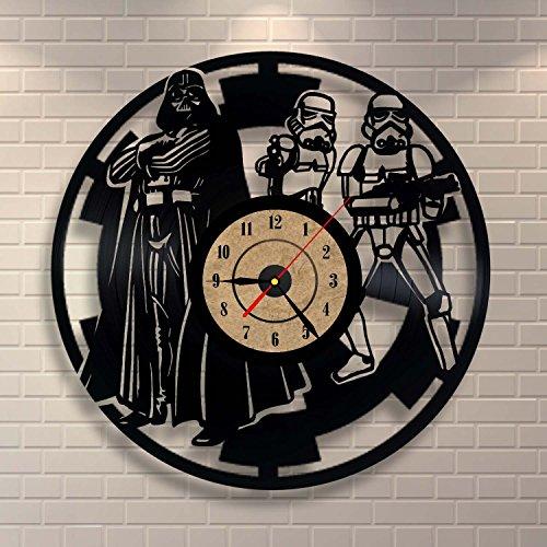 Dekorative Vinyl Clock Star Wars Design Wand Dekor (Haushaltswaren)