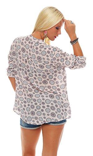 Zarmexx Feine Viskosebluse Hemdbluse Langarm- Fischerhemd Regular Fit Leichte Langarm-Sommerbluse Tunika Mandala-Muster Rosa