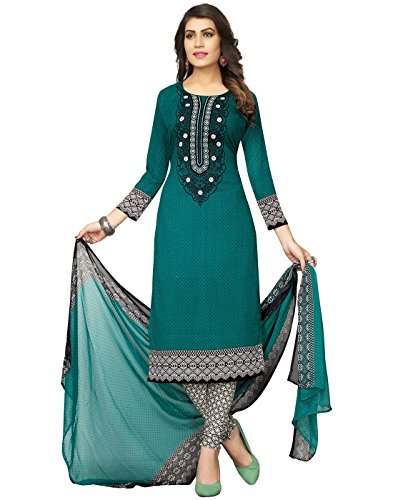 Jevi Prints Women's Unstitched Synthetic Crepe Green & Black Polka Printed Salwar...