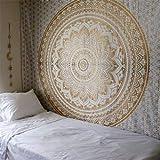 GLITZFAS - Tappeto da Parete Mandala, Stile Indiano, b, 150 x 130 cm