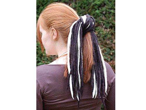 Blonde White / Black 2 tone Handmade Wool Dreadlocks - Double ended DE merino wool dreads