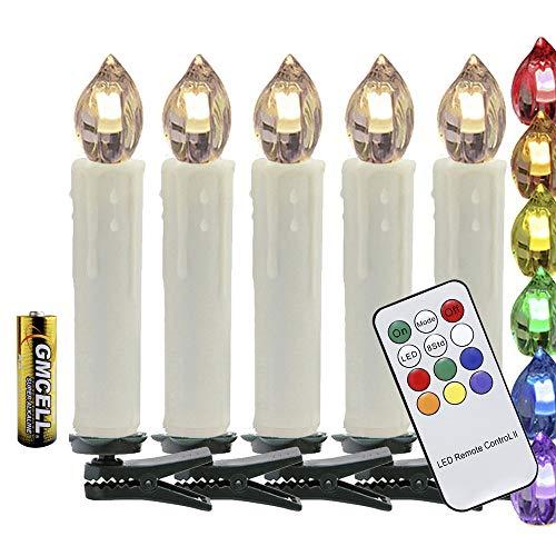 VINGO Bougies LED RGB Bougies de Noël Guirlande Lumineuse sans flamme Télécommande sans fil avec fonction minuteur pour intérieur et extérieur Sapin de Noël Décoration de Noël Fête Mariage 50x Farbe