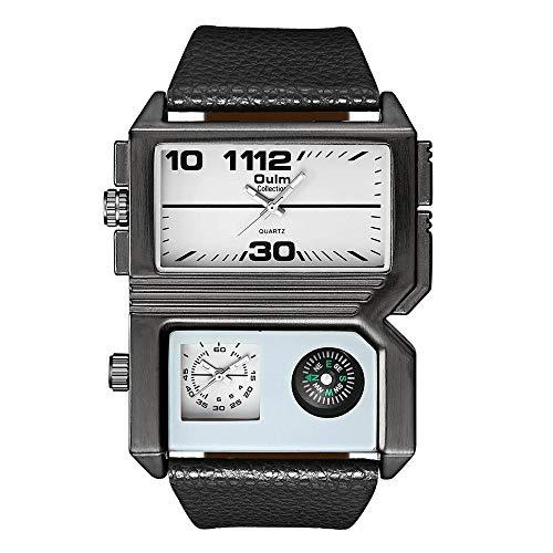 Mode Herrenuhr Edelstahl Heavy Duty Sport Chronograph wasserdicht Datum Wecker Multifunktions Analog Digitaluhr@Weiß -