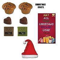 BOGATCHI Christmas Gift Hamper, Christmas Plum Cake (2x40g), Christmas Dark Chocolates, 2pcs + Free Merry Xmas Card + Free Santa Cap