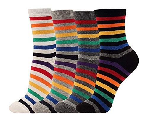 Verschönert Mädchen-socken (Happytree Damen-Socken, gestreift, buntes Design, Baumwolle, Rundbogen, gestreift, 4P)