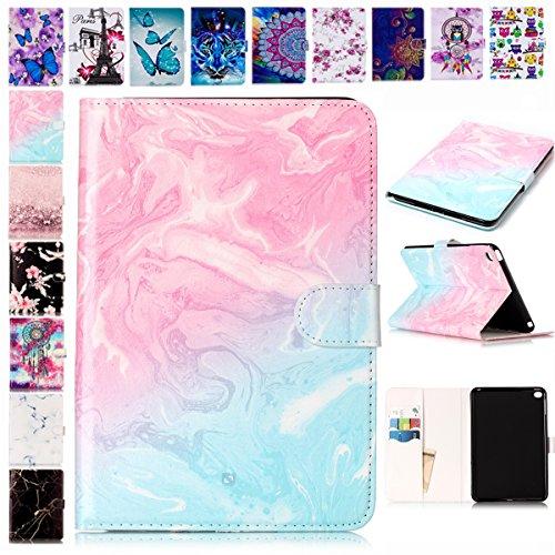 E-Mandala Apple iPad Mini 3 2 1 Hülle Leder Flip Case Tablet PC Tasche mit Kartenfach Ledertasche Lederhülle - Rosa Blau