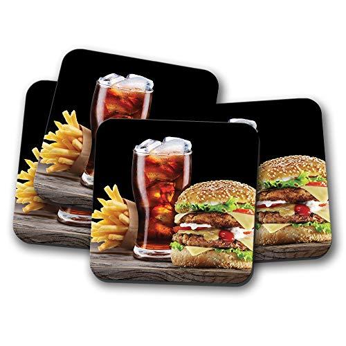 Junk Burger Untersetzer - Fast Food Coke Chips Teenager Kinder Süßes Geschenk #16453