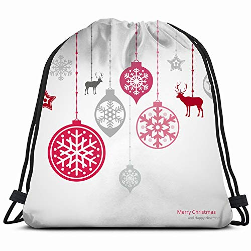 fjfjfdjk Christmas Decorations Set Snowflakes New Drawstring Backpack Gym Sack Lightweight Bag Water Resistant Gym Backpack for Women&Men for Sports,Travelling,Hiking,Camping,Shopping Yoga