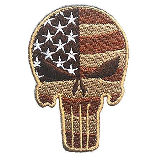 VANKER Cráneo Tipo Punisher táctico militar Patch cinta Ejército insignia del brazal -- Rayas Marrón
