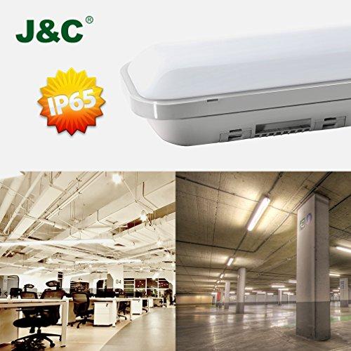 J&C Feuchtraumleuchte 60cm 18W LED Tube Deckelampe 4000K Wasserdicht IP65 leuchtröhre AC220V-240V PC Badleuchte 1500LM Kanalbeleuchtung Ra>80 SMD 2835 Wegbeleuchtung für Nassraum Garten Parkplatz - 2