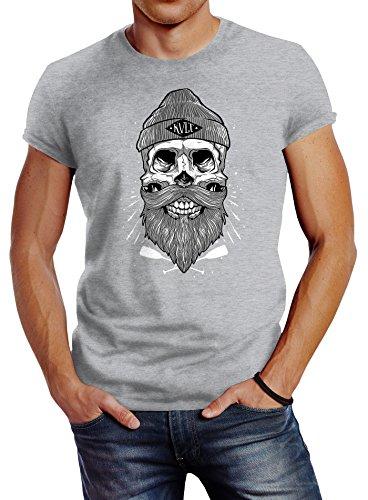 Neverless Herren T-Shirt Captain Skull Beard Totenkopf Bart Kapitän Slim Fit Grau
