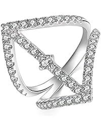 Aooaz Gioielli anello fascia anello fidanzamento anello argento sterling Cuore Argento anelli donna anello zirconi