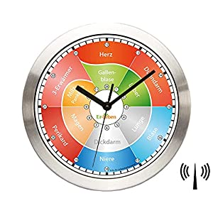Hochwertige Organ-Wanduhr Er-Leben – mit Funk – Organuhr – natürlicher Lebensrhythmus – Funkuhr – Meridianuhr