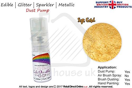 Staub Pumpe Glitzer Wunderkerze | 100% Essbar | Soft Gold | Metallic | 7Gramm | Kostenlose...