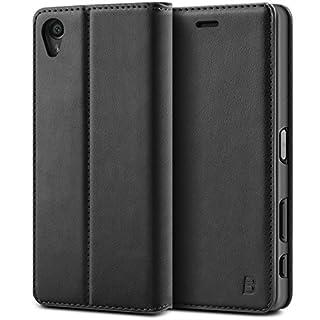 BEZ® Sony Xperia X Hülle, Handyhülle Kompatibel für Sony Xperia X Tasche, Flip Case Cover Schutzhüllen aus Klappetui mit Kreditkartenhaltern, Ständer, Magnetverschlus - Schwarz
