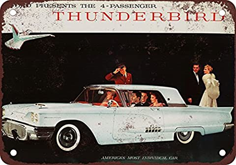 Metal Poster 1958 Ford Thunderbird Coupe Vintage Look Reproduction Metal Wall Sign