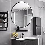 Rumcent groß rund Metall gerahmt Wandmontage Spiegel Modern, Oversize Dekorative Spiegel für Wohnzimmer oder Badezimmer, Durchmesser 80cm/80cm, Schwarz