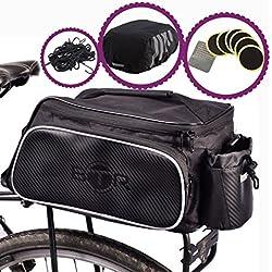 Bolsa para bici de BTR con funda impermeable para la lluvia de alta visibilidad y una red para paquetes. Diseñada para el portaequipajes trasero de la bicicleta. Capacidad de 10 litros. La bolsa y su funda incorporan un soporte para acoplar de forma segura la luz LED trasera de la bicicleta.