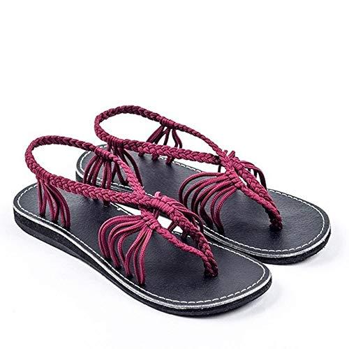 Fenghz-Shoes Schuhe Mode Open Toe römische Schuhe Seil Knoten Flache Sandalen Großhandel Kreuz Riemen Prise Sandalen (Farbe : Weinrot, Size : 35) -