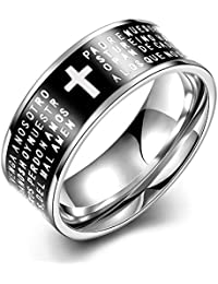 YAZILIND moda joyas exquisitas letras inglesas crucifijo anillo negro titanio acero