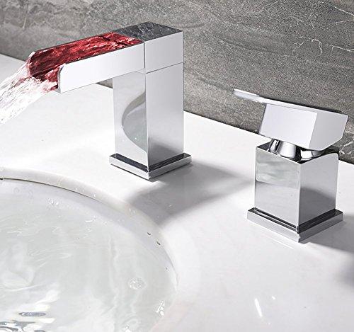 Einzigen Handgriff LED Messing Wasserhahn Armatur Einhebelmischer Wasserfall Bad Badarmatur Handgriff Waschtischmischer Badzimmer Waschbecken Mischbatterie