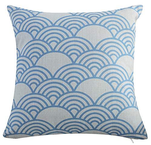 LivebyCare Multi-Size gewellt Kissenbezug Überwurf Leinen Baumwolle pilllowcase pillowslip Sham Reißverschluss für Schlafzimmer Sofa Couch Stuhl Rückseite Sitz 18*18''No Insert Arch of White and Blue (Sitz Arch Auto)