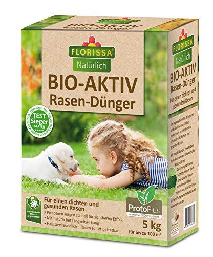 Florissa Natürlich Bio-AKTIV Rasendünger mit ProtoPlus, Test-Sieger mit Sofort- und Langzeitwirkung